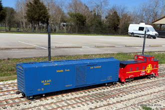 Photo: Gary Brothers box car and caboose with James Dafler's Sprinter in the back ground.    HALS Chili Fest Meet 2014-0227 RPW