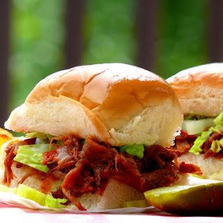 BBQ Short-Rib Sliders with Whiskey-Bacon Barbecue Sauce.