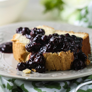 Greek Yogurt Pound Cake with Blueberry-Chia Sauce.