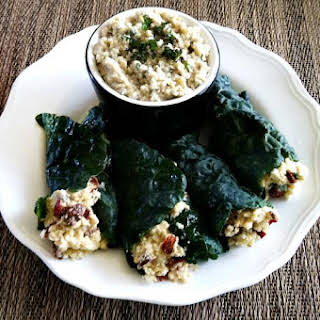 Raw Stuffed Kale Leaves with Mint Cashew Aioli (Raw, Vegan, Gluten-Free, Dairy-Free, Paleo-Friendly, No Refined Sugar).