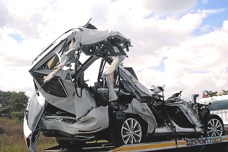 The car in which Collins Chabane was travelling when he was involved in a fatal accident in 2015.  Picture: SOWETAN