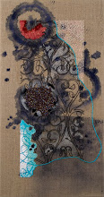 "Photo: Untitled IV 8""x15"", hand embroidery, hand stitched glass beads and acrylic paint on linen. Light gray wooden frame, 2'' deep. c. Karin Birch 2011"