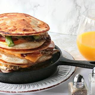 Canadian Bacon, Egg & Asparagus Breakfast Quesadilla.