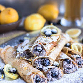 Beer Crepes with Hefeweizen, Ricotta, Blueberries & Lemon Recipe