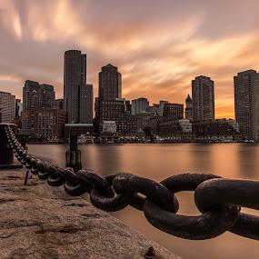 Fan Pier - Boston by Michael Last - City,  Street & Park  Skylines ( skyline, boston, sunset, long exposure, cityscape, fan pier, city )