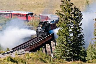 Photo: Train crossing trestle.