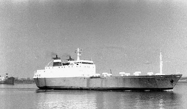 """Photo: """"Cap Taillat"""" near Vlissingen, May 1979, chartered by Olau Lines (Photo: H.G. Hesselink). IMO 7500748"""