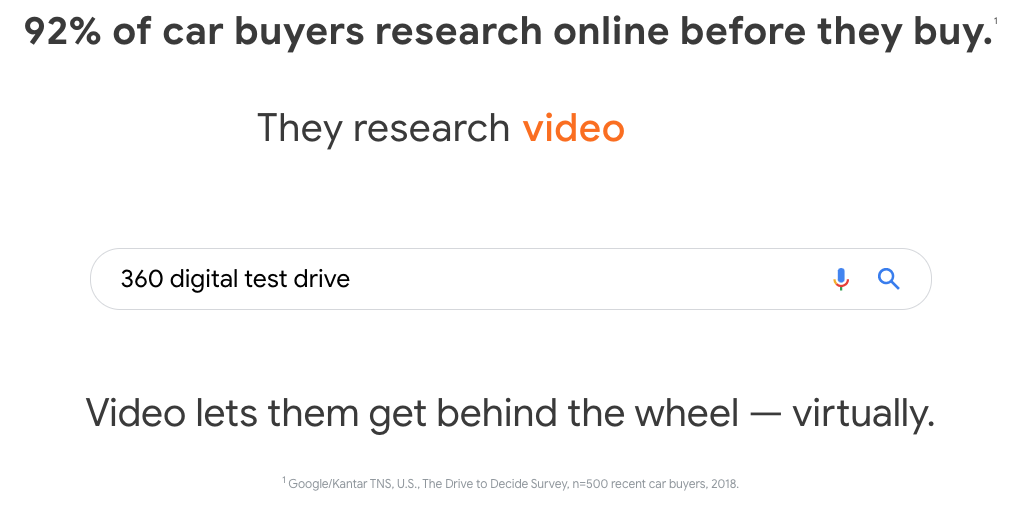 "Screenshot of search query ""360 digital test drive"" from Think with Google"