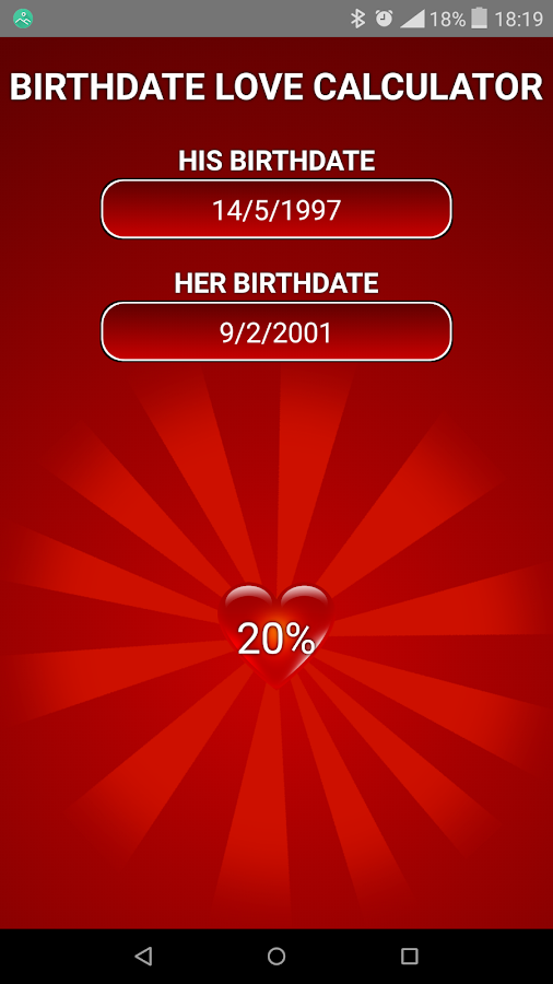 Birthdate Love Calculator- screenshot