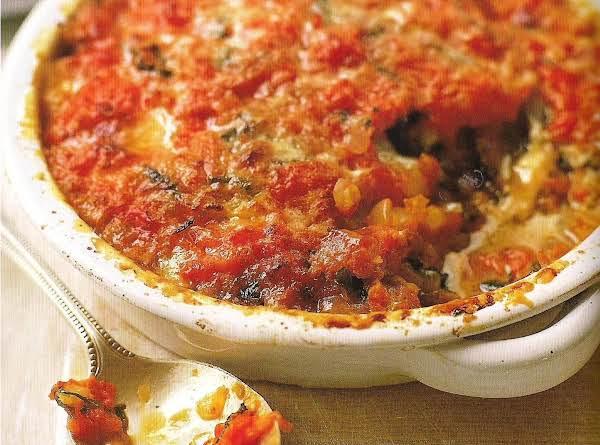 Baked Eggplant, Tomato, Mozzarella And Parmesan