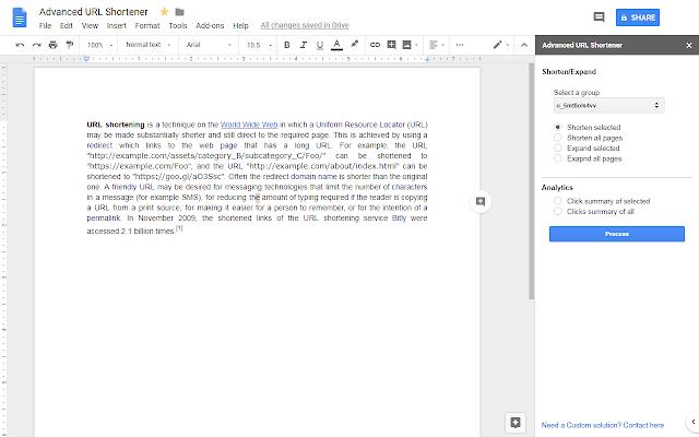 Advanced URL Shortener - Google Docs add-on