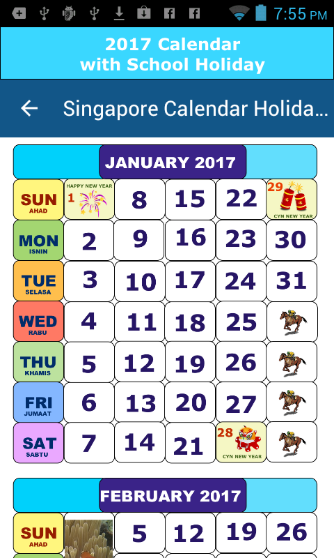 Calendar Singapore Holiday : Singapore calendar holiday android apps on google play