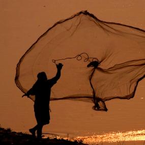 Fishing at River Teesta, Jalpaiguri, WB, IN... by Gautam Tarafder - People Professional People (  )