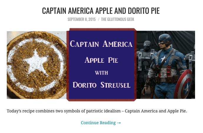 Captain America apple and dorito pie