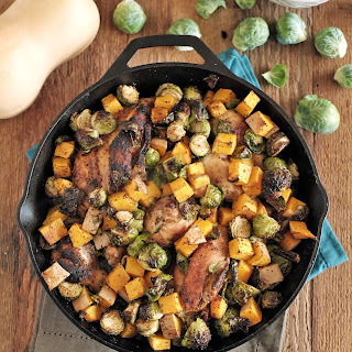 Chicken Skillet with Brussels and Squash