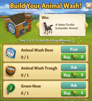 farmville 2 animal wash building requirement