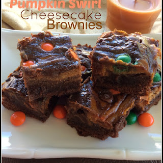 Pumpkin Swirl Cheesecake Brownies with Pumpkin Spice M&Ms