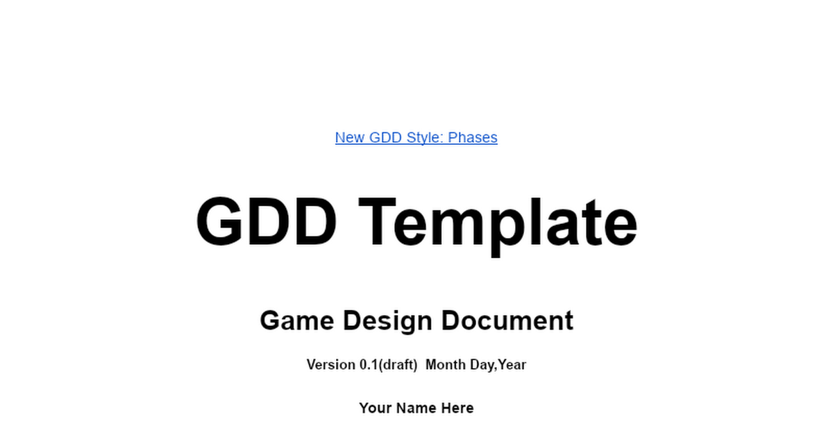 Game Design Document Template Word