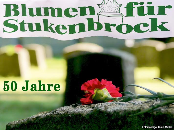Fotomontage: Grabstein mit roter Nelke, einmontierte Schrift «50 Jahre Blumen für Stukenbrock».