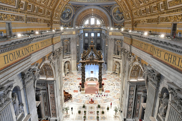 St. Peter's Basilica where Pope Francis leads the Palm Sunday mass without public participation due to the spread of coronavirus disease, at the Vatican April 5, 2020.
