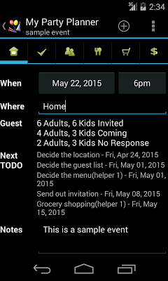 My Party Planner - Lite - screenshot