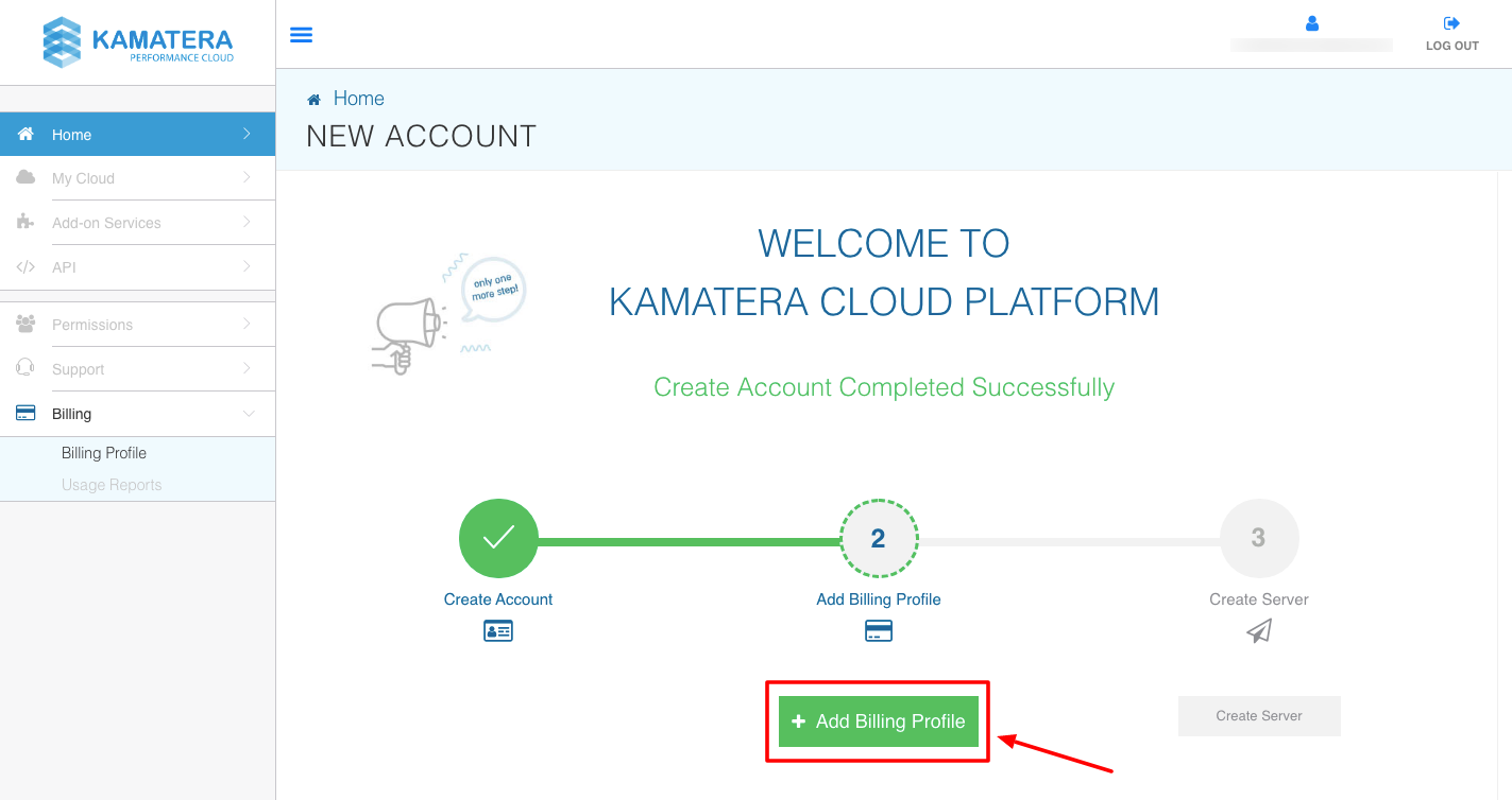 create account add billing in kamatera