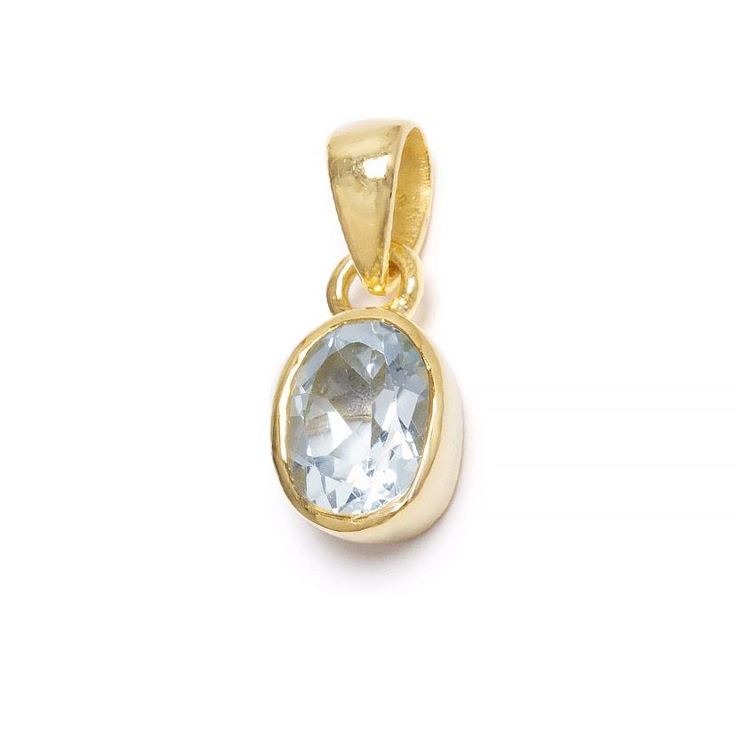 Blå topas, månadssten för december i guldpläterat silverhänge