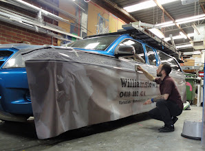 Photo: Williamstown Plaster partial vehicle wrap, in progress vehicle wrap