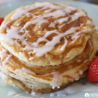 Cinnamon Swirl Pancakes With Vanilla Glaze.