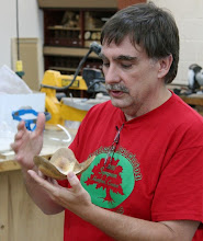 Photo: Tim Aley showing an oak crotch winged bowl