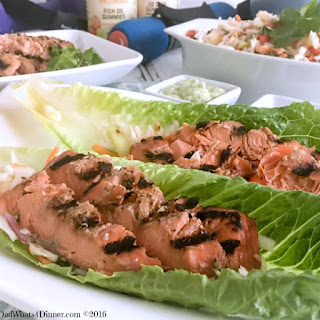 Getting Healthy with Grilled Salmon Lettuce Wraps and Sundown Natural Gummies.
