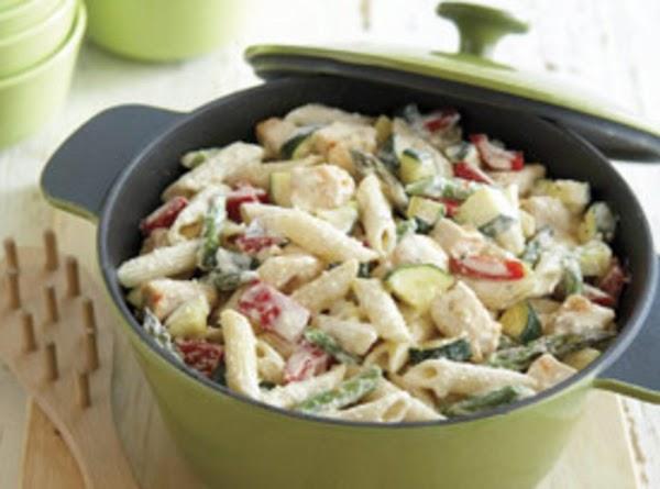 Leftover Chicken & Creamy Pasta Primavera Recipe