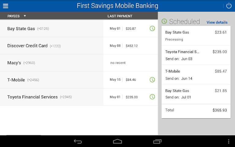 android First Savings Mobile Banking Screenshot 3