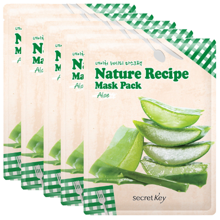 [SECRET KEY] Nature Recipe Mask Pack Aloe 20g x 5 (5 pieces)