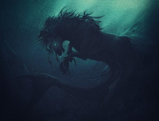 Caballo marino en las profundidades del mar