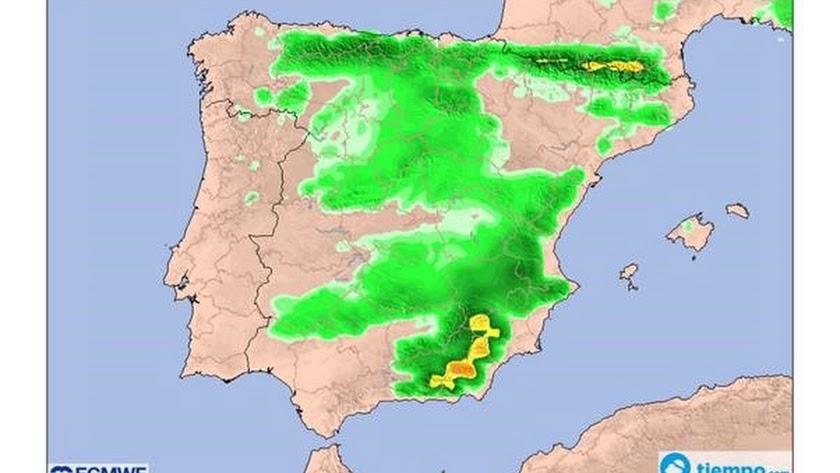 El mapa señala el sureste como la zona con mayor posibilidad de nevadas fuertes