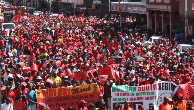 Cosatu supporters march in Durban. File picture: JACKIE CLAUSEN