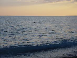 Photo: A few swimmers can be found even at this time; the water is cool, but not cold.