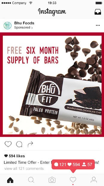 Bhu Foods invited Instagram followers to enter a competition for a chance to win a 6-month supply of vegan protein bars. Source: dotdigital