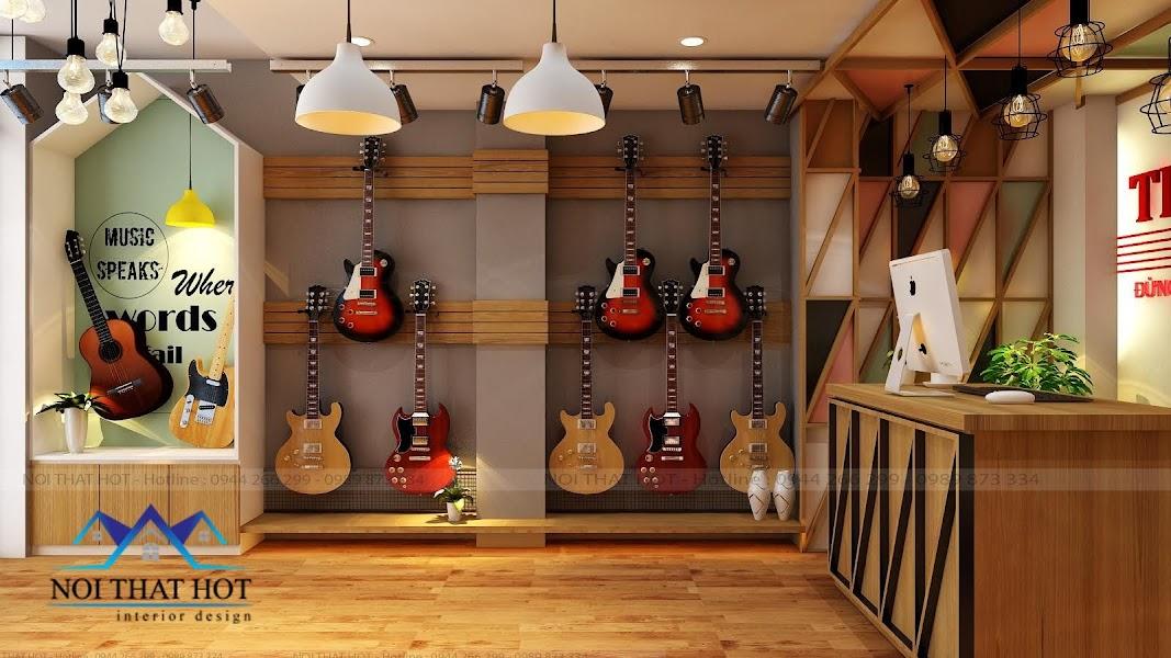 thiết kế cửa hàng đàn guitar đơn giản mà đẹp