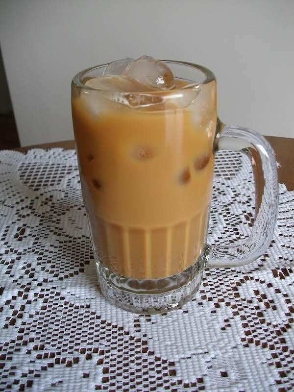 Vanilla Iced Coffee In A Mug.