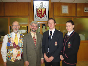 Photo: Michael Young, Keith Delaplane and sixth form students Gary Munn and Sarah Montgomery