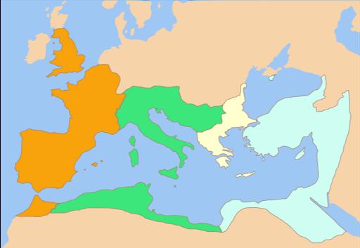 L'Empire romain en 337  par Panairjdde sur Wikipédia italien