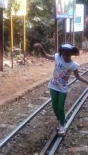 Photo: Balancing Little Feet on Little Track!