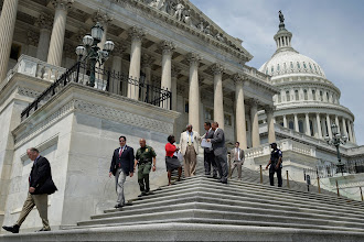 Photo: WASHINGTON, DC - AUGUST 02:  Members of the House of Representativs leave the U.S. Capitol as Congress begins its summer recess August 2, 2013 in Washington, DC. Congress is headed into its summer recess without a deal on a federal budget, paving the way for a big showdown between Republicans and Democrats and a possible government shutdown in September.  (Photo by Chip Somodevilla/Getty Images)