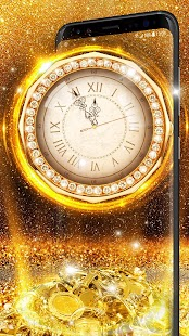 Shining Gold Clock Live Wallpaper - náhled