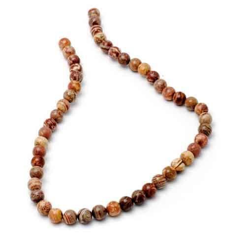 Jaspis, röda band pärlor 6 & 8 mm