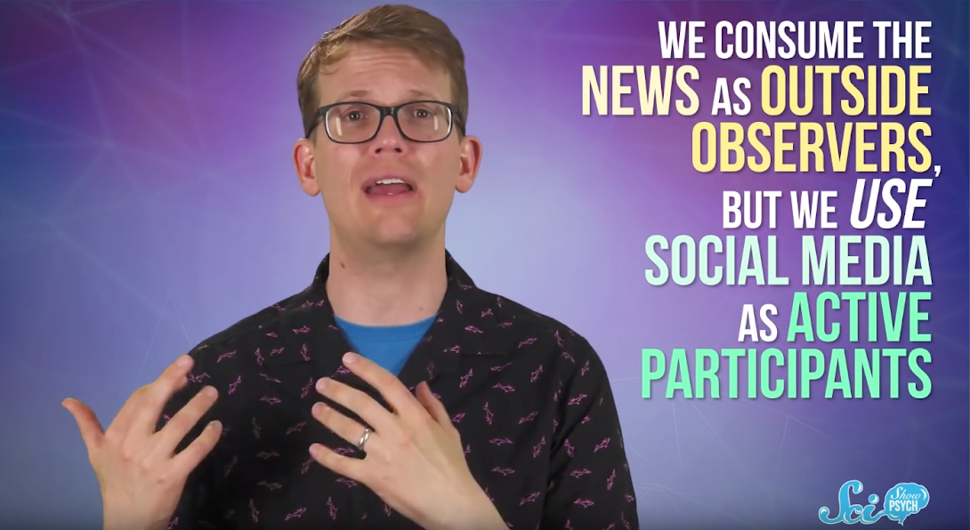 We consume news as outside observers, but we use social media as active participants.