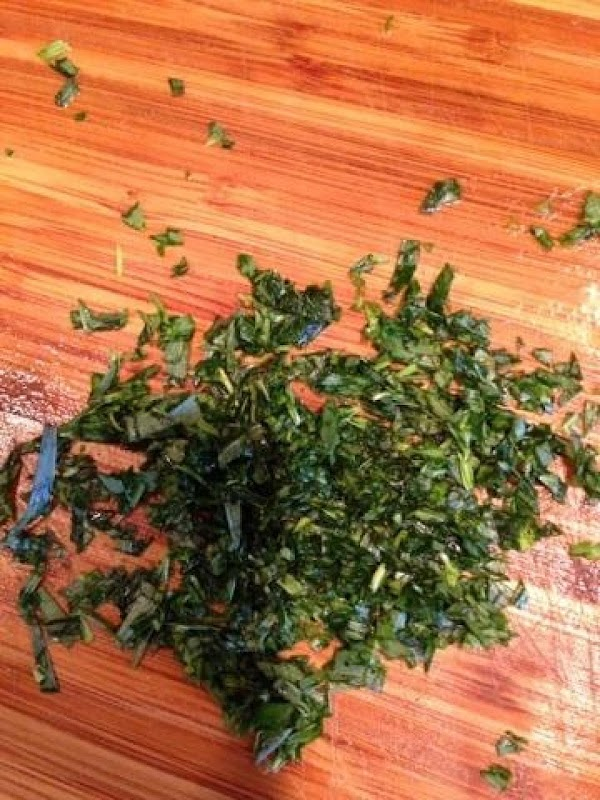 Rinse and mince fresh Tarragon.  Use 3 Tablespoons fresh or 1 Tablespoon dried...