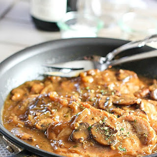 Easy One Skillet Pork Chops in Mushroom Gravy.